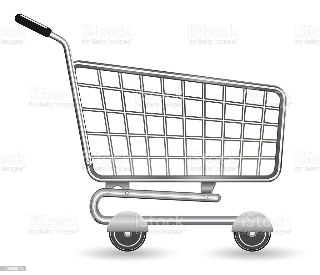 Cartoon drawing of a silver shopping cart royalty-free stock vector art