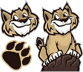 Cartoon drawing of a wildcat and pawprint