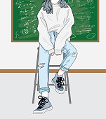 Cartoon drawing of a woman sitting on a chair in front of the classroom.She is waiting for the teacher to teach in the classroom.Doodle art concept,illustration painting