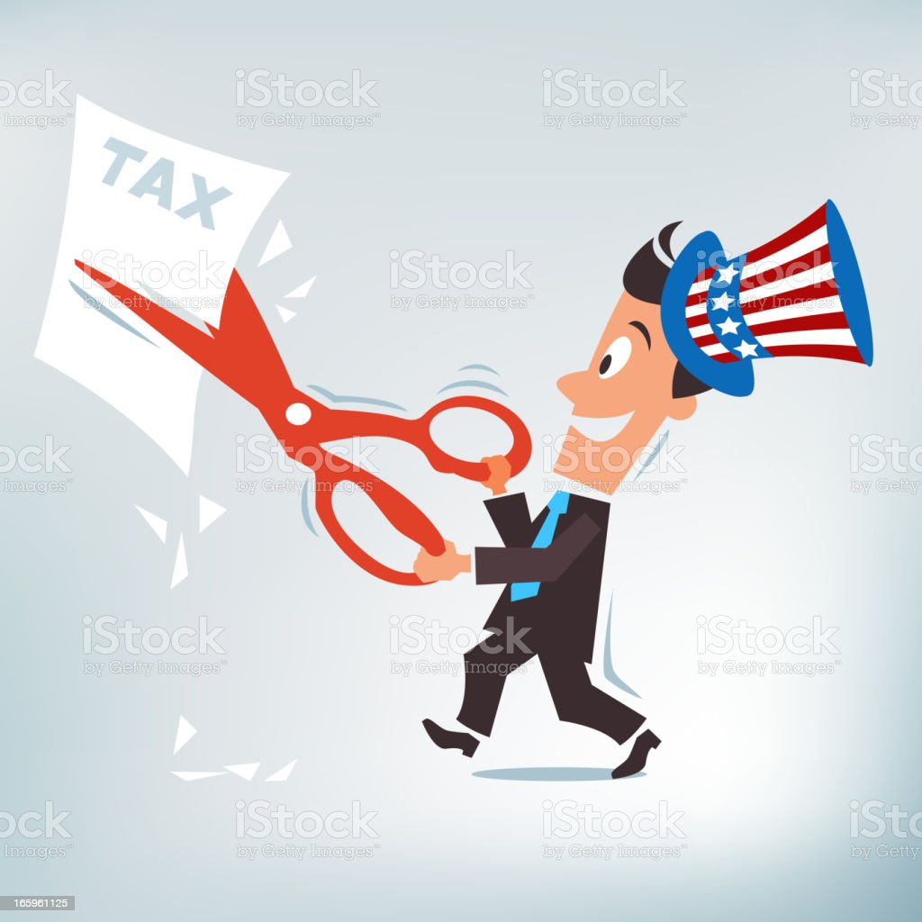A cartoon drawing of an American candidate cutting taxes royalty-free stock vector art