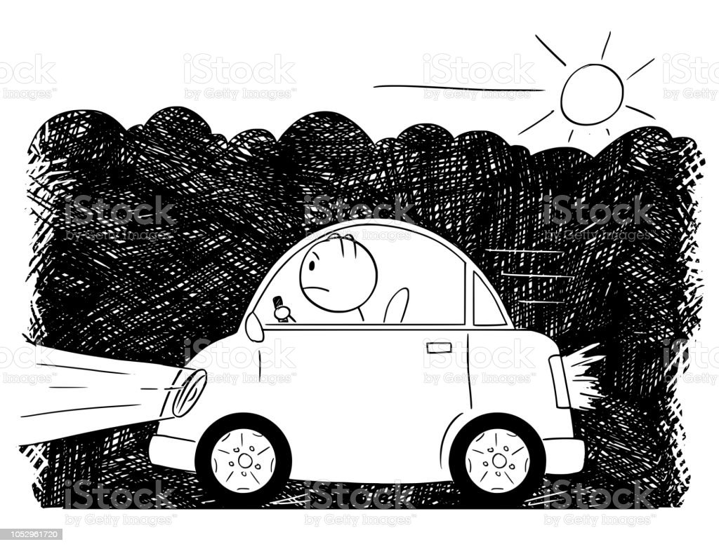Cartoon Drawing Of Car Driving Through Smog And Exhaust Fumes Stock