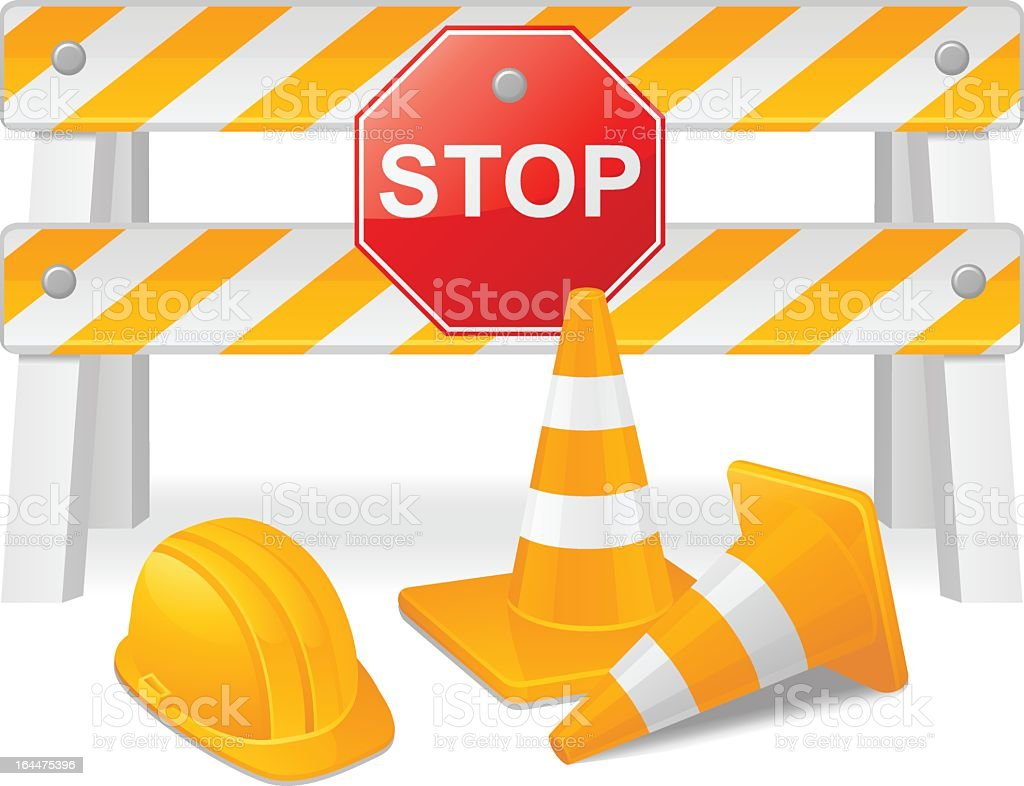 Cartoon drawing of construction hazard tools royalty-free stock vector art