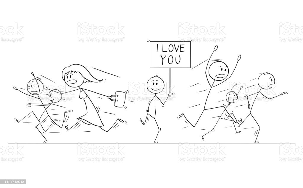 Cartoon stick figure drawing illustration of group or crowd of people...