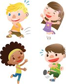 A cartoon drawing of four cute children playing