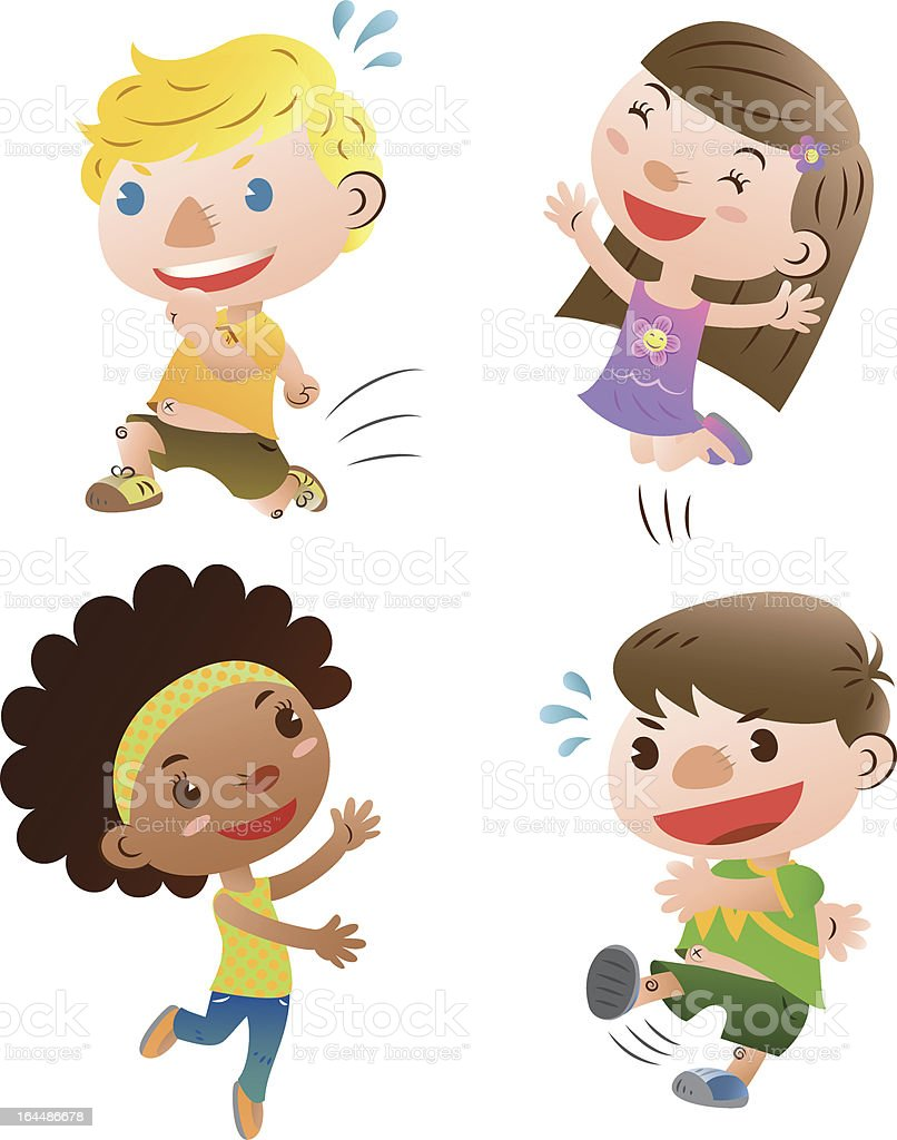 A cartoon drawing of four cute children playing vector art illustration