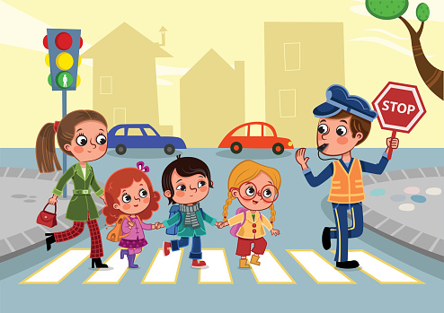 Cartoon drawing of kids and adults crossing the street