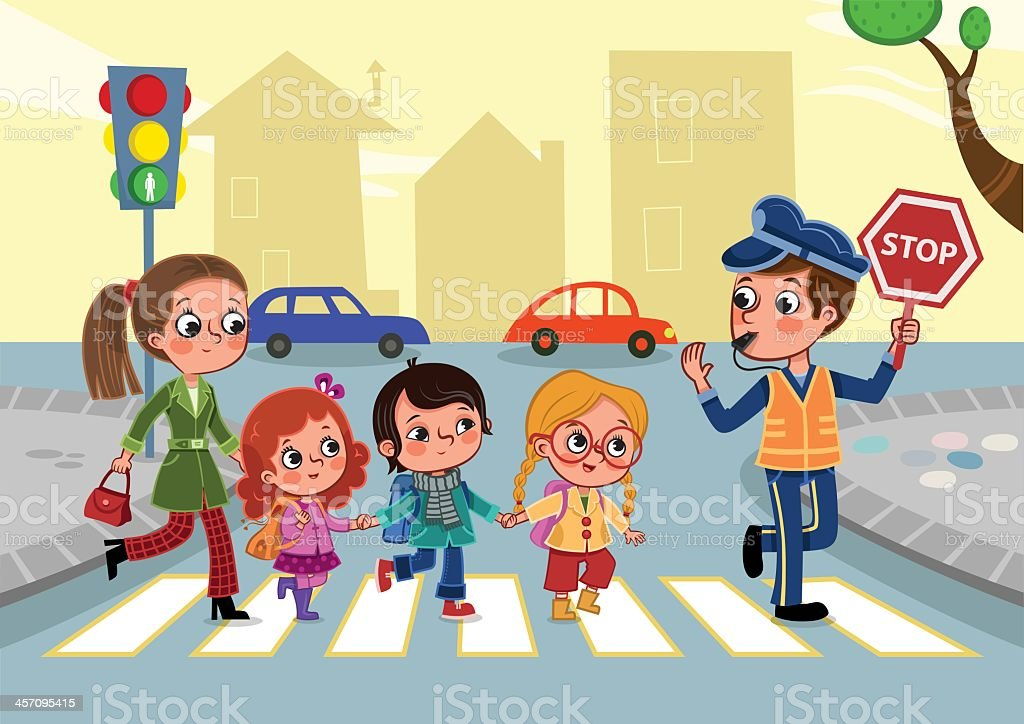 Cartoon drawing of kids and adults crossing the street vector art illustration