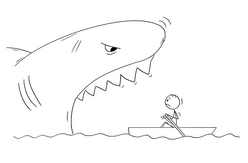 Cartoon Drawing Of Man In Small Boat And Dangerous Giant Shark With Mouth Open Stock Illustration Download Image Now Istock
