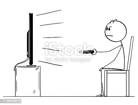Cartoon stick figure drawing of unhappy, bored and unsatisfied man sitting alone on chair and watching TV or television.