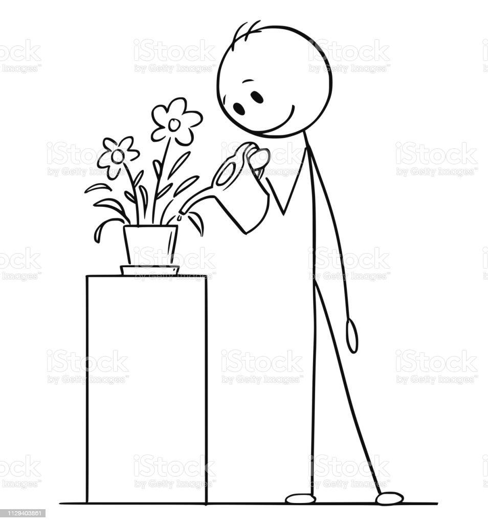 Arrosage Pour Plantes En Pot dessin humoristique de lhomme arrosage des plantes en pot ou
