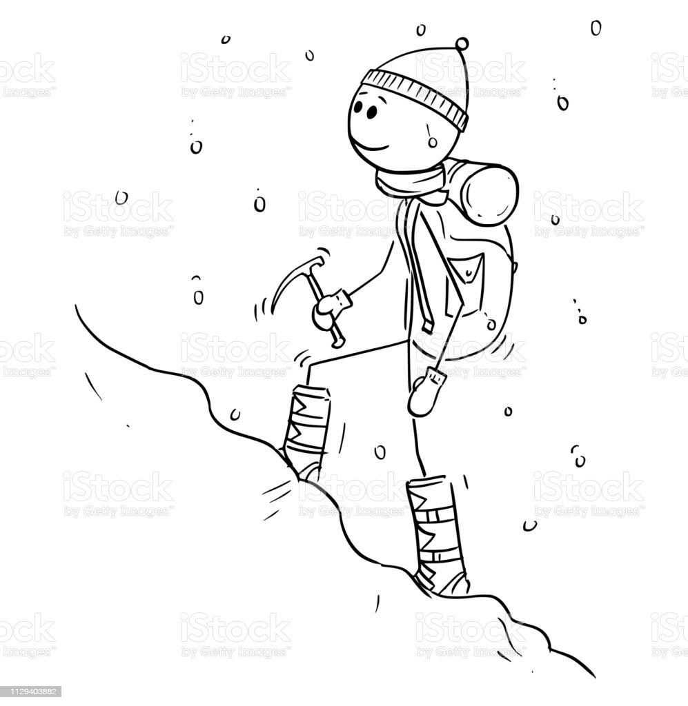 Dessin Anime Dalpiniste Ou Alpiniste Marchant Dans La Neige