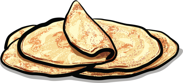 Cartoon drawing of pita bread with one folded over
