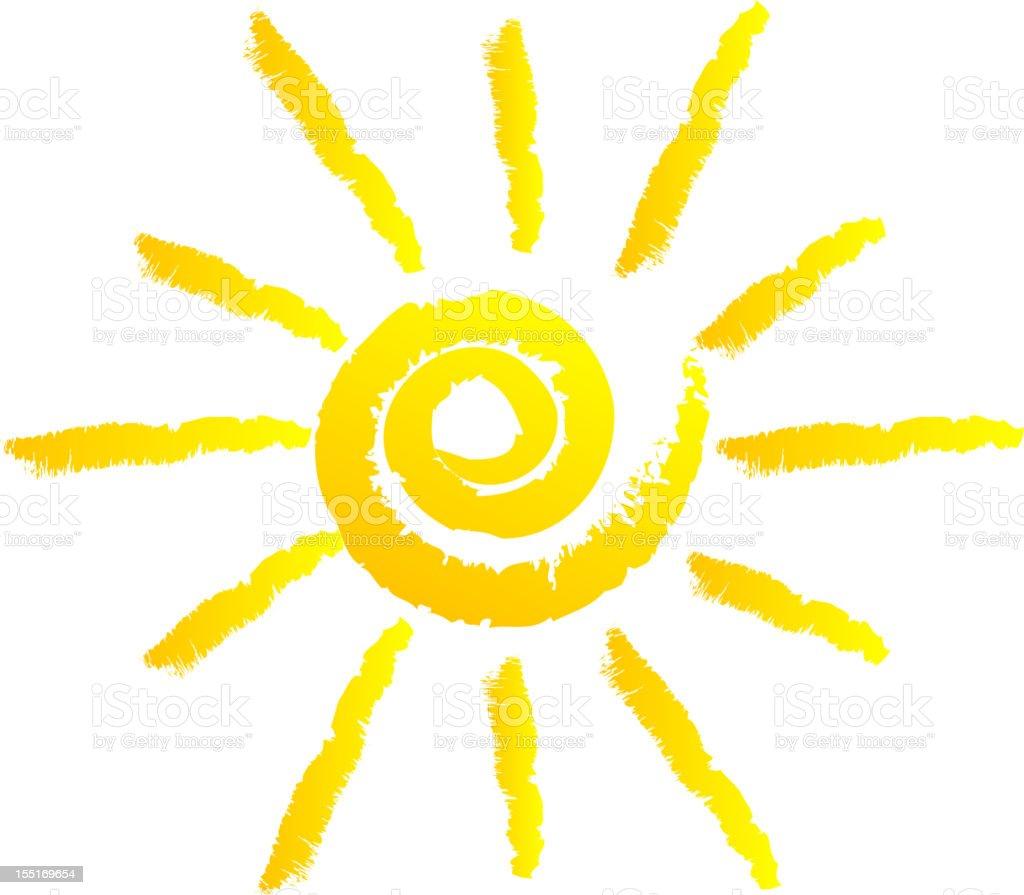 cartoon drawing of the sun with swirl center stock vector art more rh istockphoto com swirly sun vectors Vector Corner Swirls