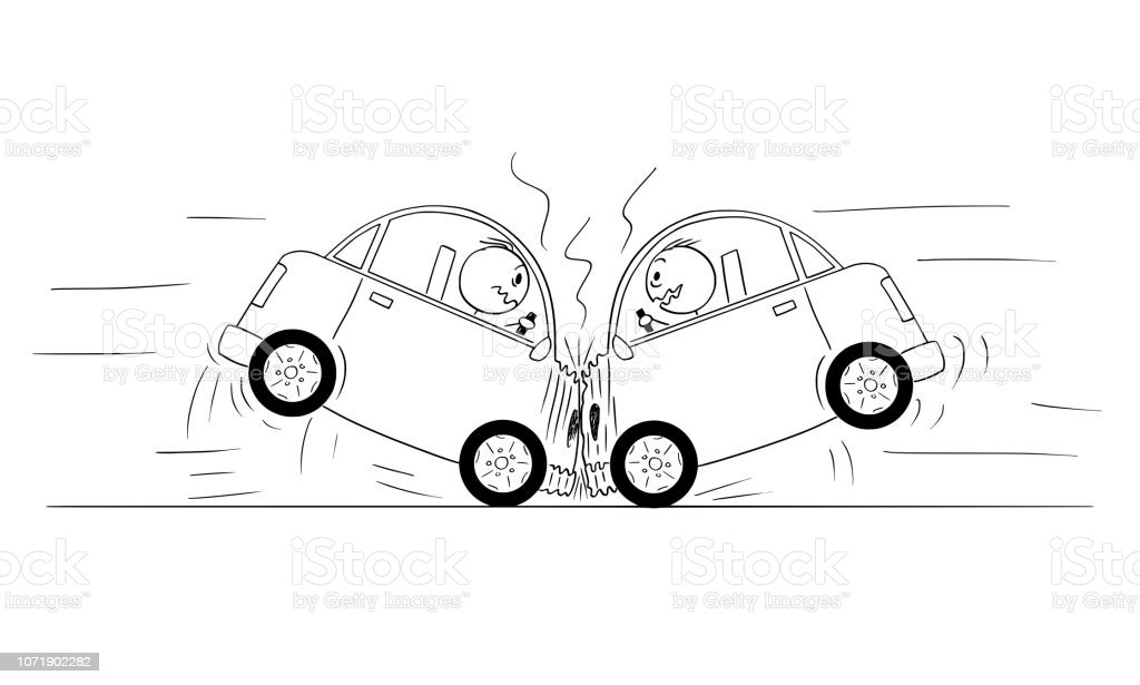 Cartoon Drawing Of Two Cars Crash Accident Stock Illustration