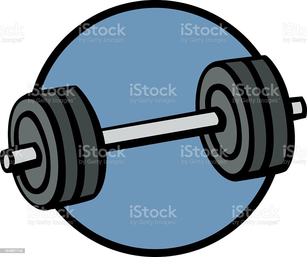 Cartoon drawing of weights in a blue circle royalty-free stock vector art