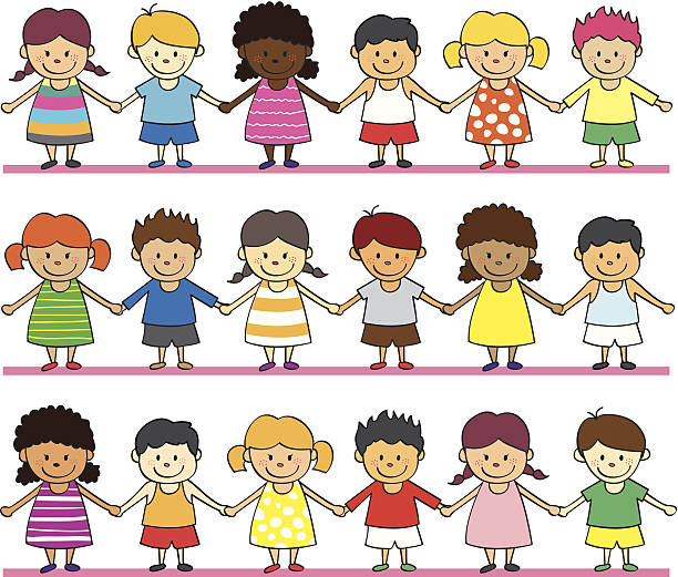 Cartoon drawings of children holding hands in rows various ethnic children holding hands children only stock illustrations