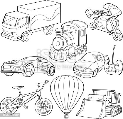 Cartoon Drawings Of Types Of Transportation Stock Vector