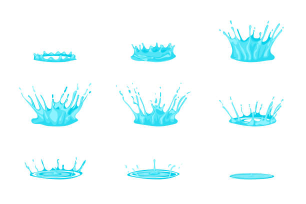 cartoon dripping water effect set on a white. vector - para formy wodne stock illustrations