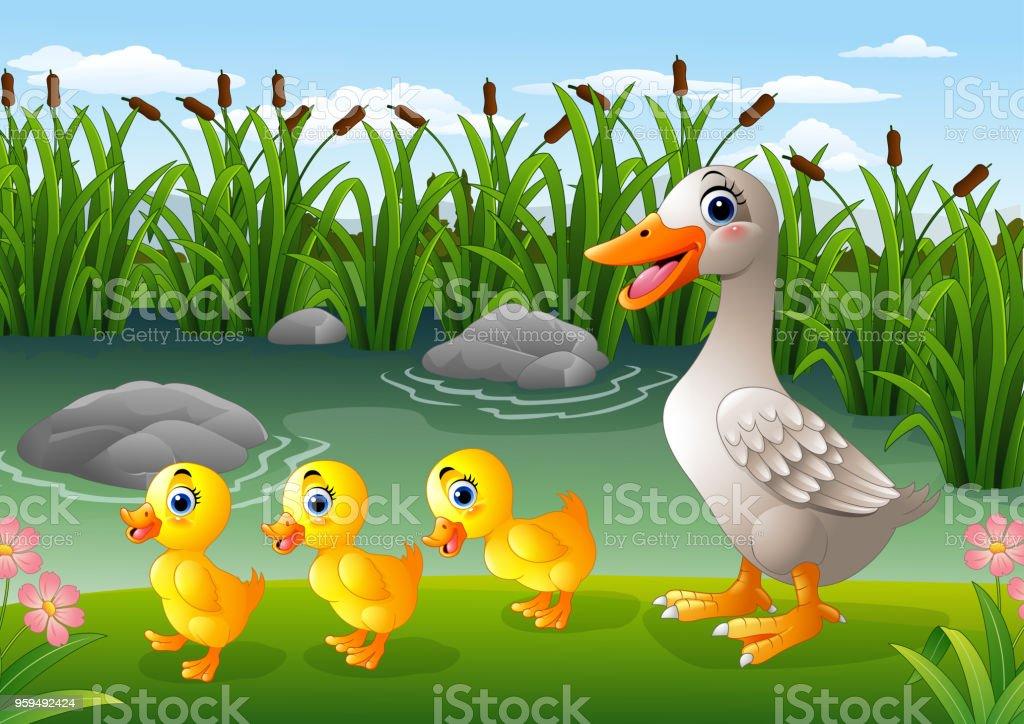 Cartoon duck family vector art illustration