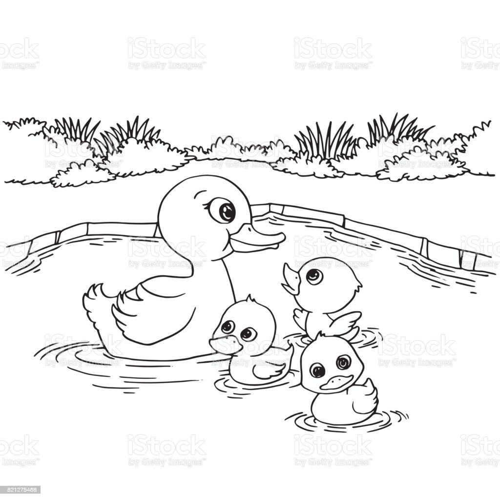 çizgi Film ördek Gölü Sayfa Vektör Boyama Stok Vektör Sanatı