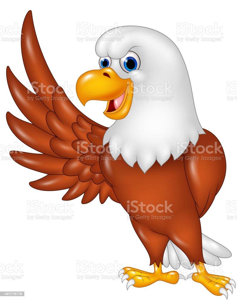 Cartoon eagle waving isolated on white background