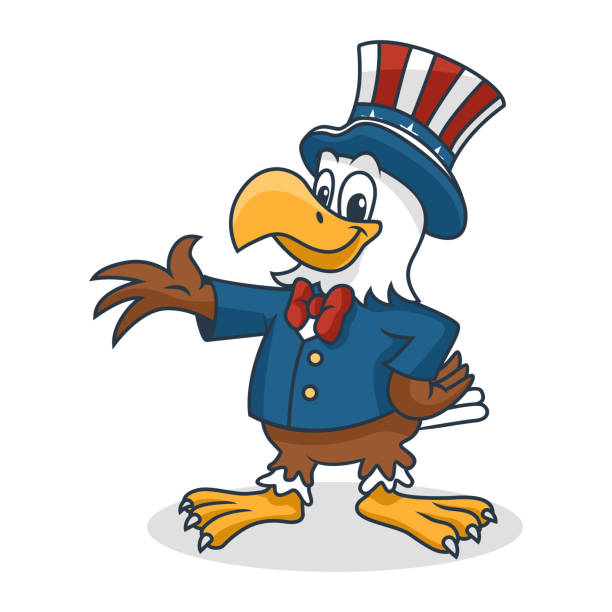 cartoon eagle wearing uncle sam hat, vector illustration - family 4th of july stock illustrations