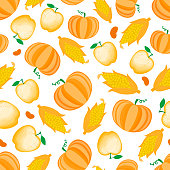 Autumn Cartoon vegetable and apple seamless pattern. Vector ilustration isolated on white background. Thanksgiving day design.