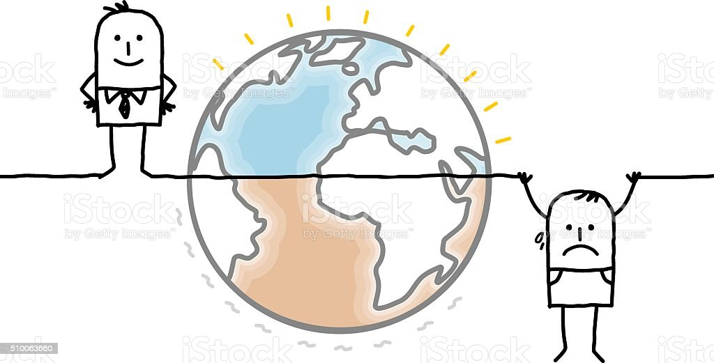 cartoon Earth and humans divided into two unequal parts vector art illustration