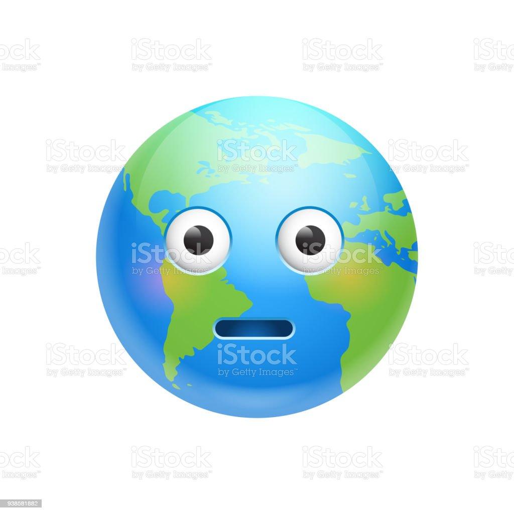 Dessin Animé Terre Visage émotion Choqué Icône Isolée De La Planète