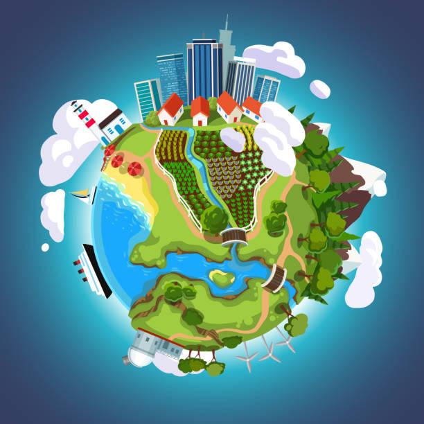 çizgi film dünya küre şehir gökdelenler, denizler, dağlar, bahçeleri ve binalar bir gezegen yüzeyinde uzayda. ekoloji kavramı düz stil vektör - mountain top stock illustrations
