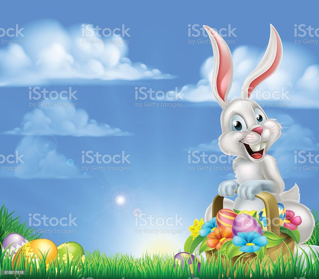 Cartoon Easter Bunny Background