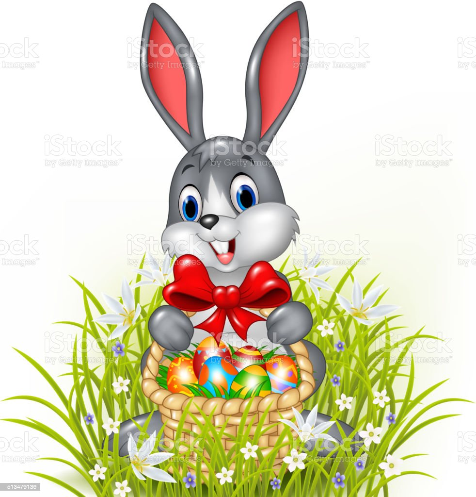 Cartoon Easter Bunny With A Basket Of Painted Easter Eggs Stock ... for Real Easter Bunny With Eggs  269ane
