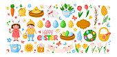 Cartoon Easter Day, kids boy girl in costumes, easter eggs, spring flowers, rabbit, chiken, willow branch, floral wreath, lettering, cake, isolated on white for cards, print, your designs - vector