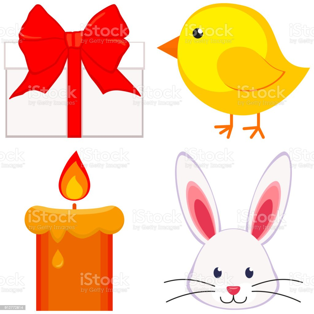 Cartoon Easter Icon Set Chicken Chick Bunny Face Candle, Gift Box.  Royalty Free