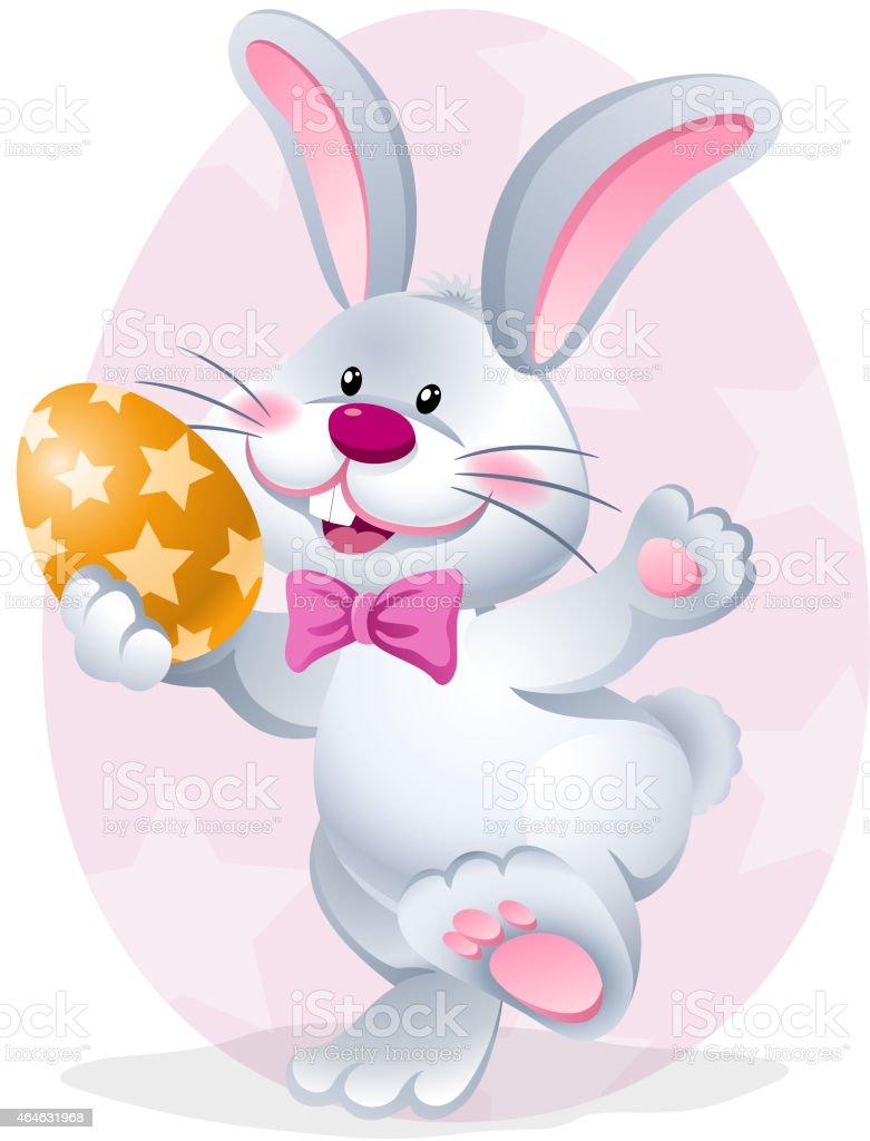cartoon easter rabbit holding easter egg stock vector art