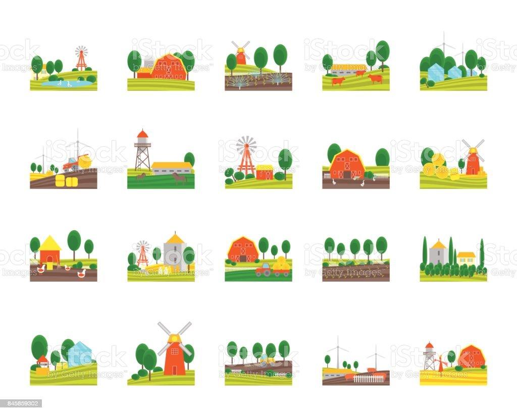 Cartoon Eco Farm Color Icons Set. Vector vector art illustration