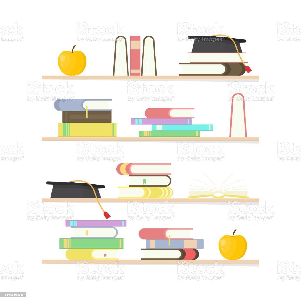 Cartoon Education Concept Book Shelf Set Element Flat Design Style...