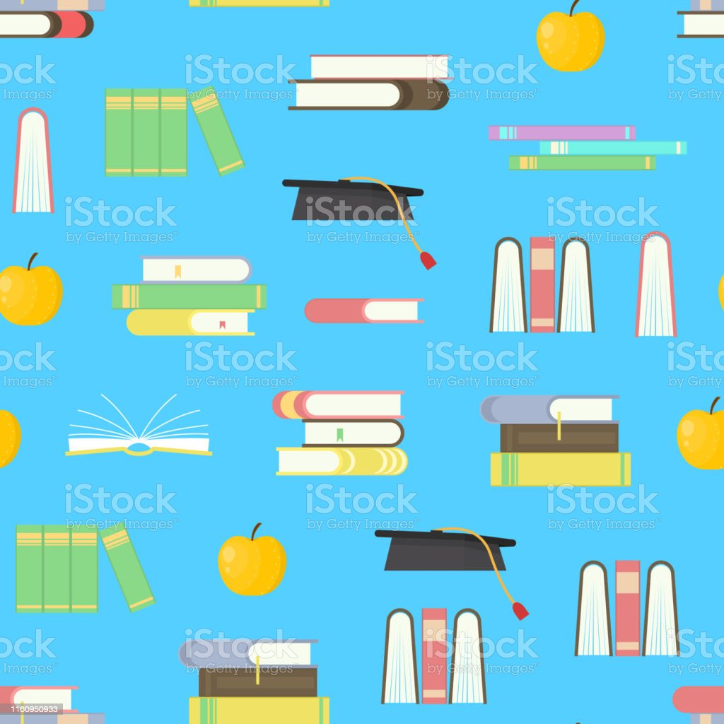 Cartoon Education Concept Seamless Pattern Background Element Flat...