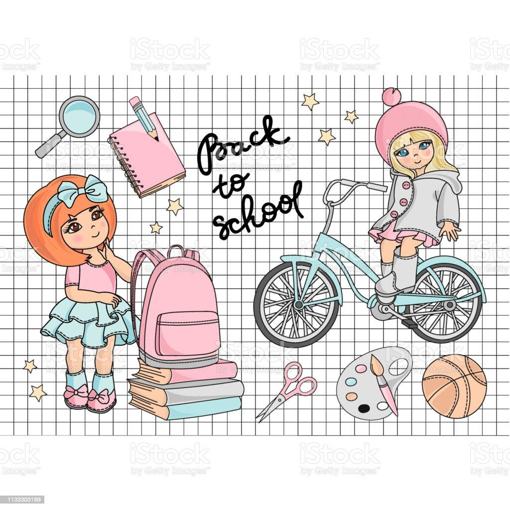 Cartoon Education Vector Illustration Set for Print, Design and...
