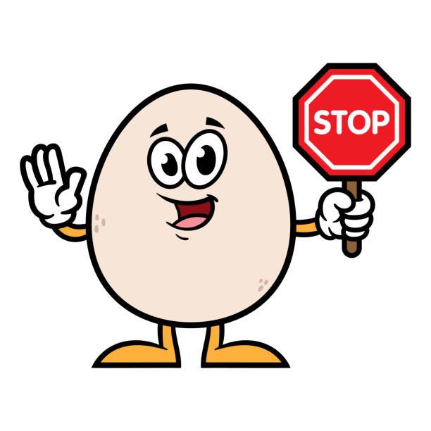 一時停止の標識を開催キャラクター卵 - 食物アレルギー点のイラスト素材/クリップアート素材/マンガ素材/アイコン素材