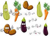 Cartoon eggplant, carrots, potatoes and zucchini