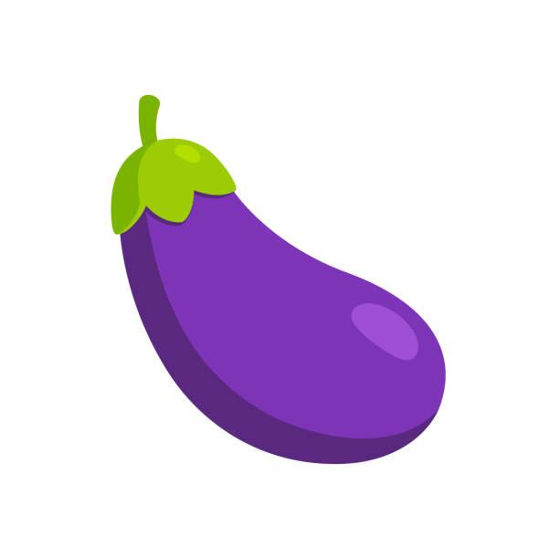 stockillustraties, clipart, cartoons en iconen met cartoon aubergine emoji icoon - aubergine
