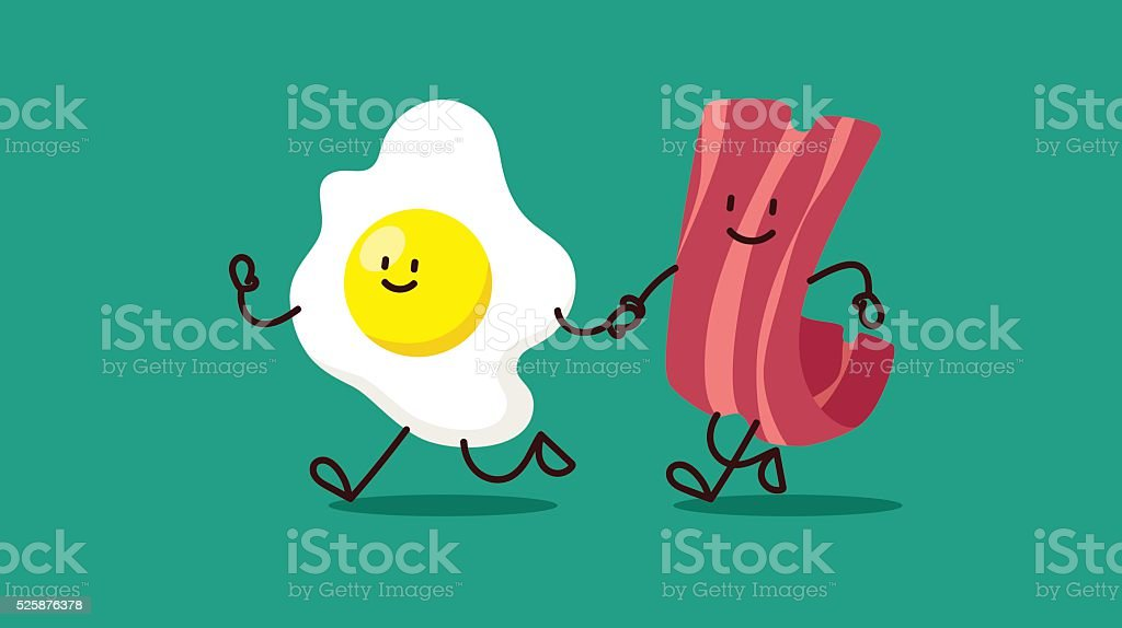 cartoon eggs and bacon are running somewhere vector art illustration
