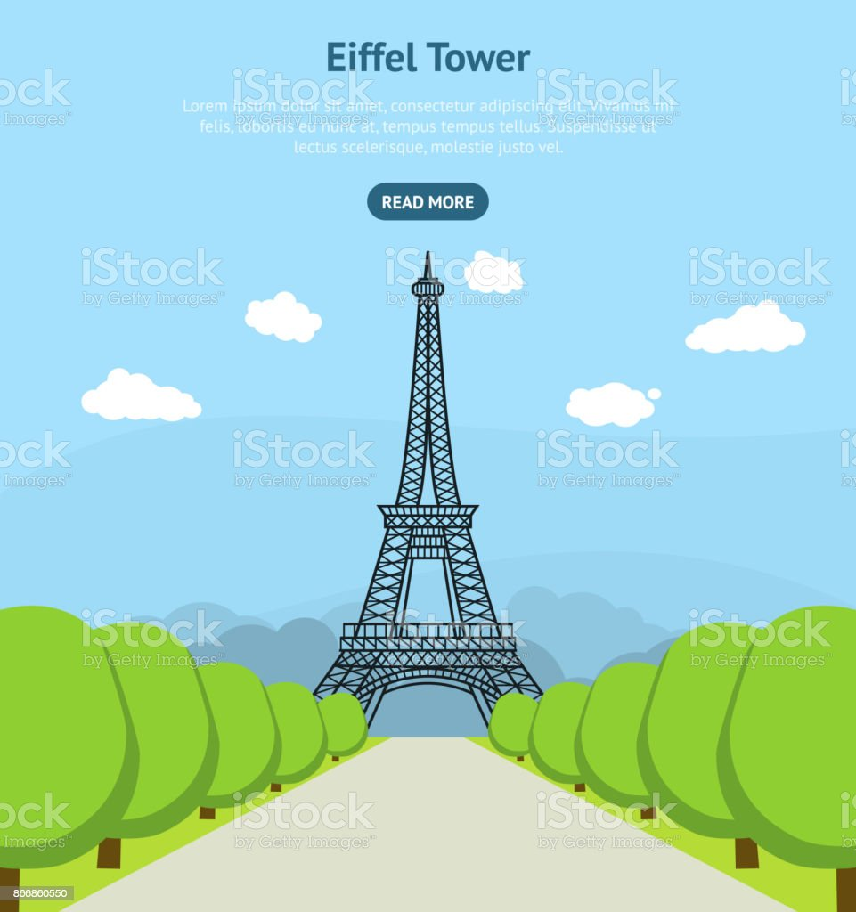 cartoon eiffel tower famous landmark of paris card poster vector
