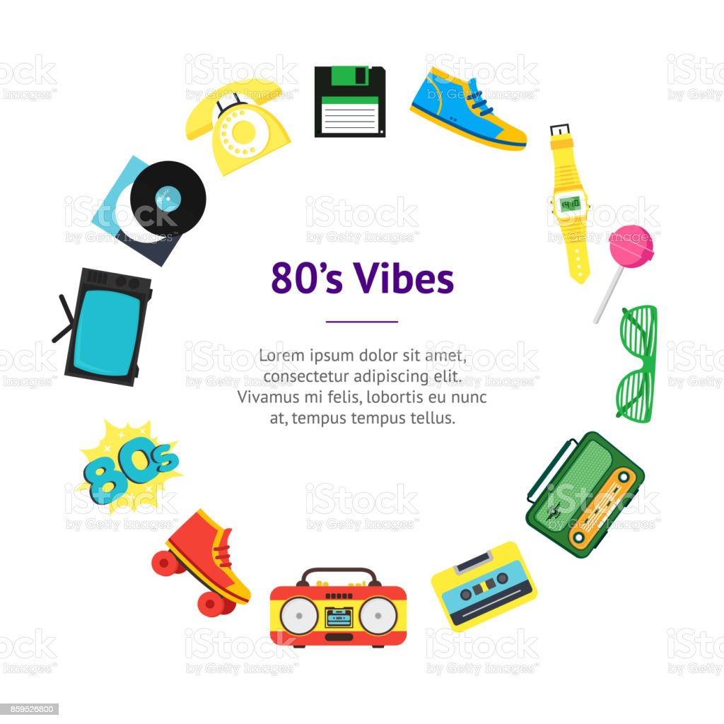 Dessin Anim 70 80 Liste: Dessin Animé Des Années 80 Style Symbole Bannière Carte