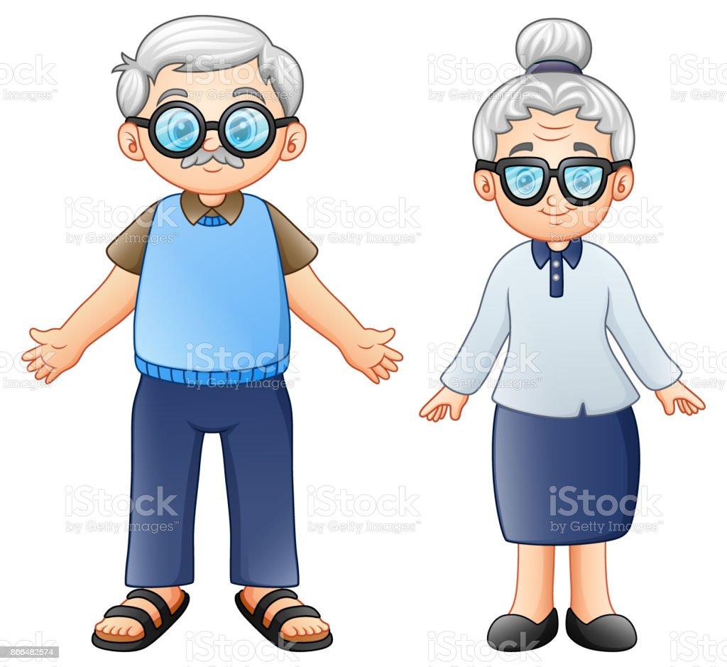 Ilustración De Dibujos Animados Pareja De Ancianos Y Más