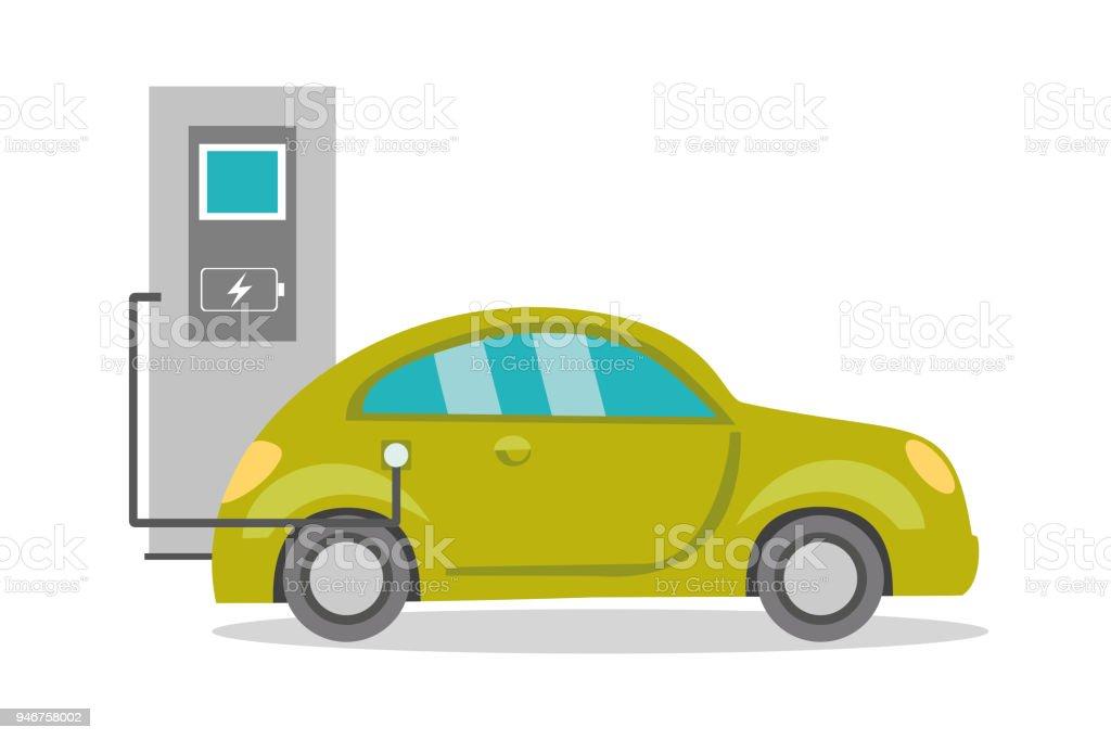 Cartoon electric car on recharging, vector art illustration