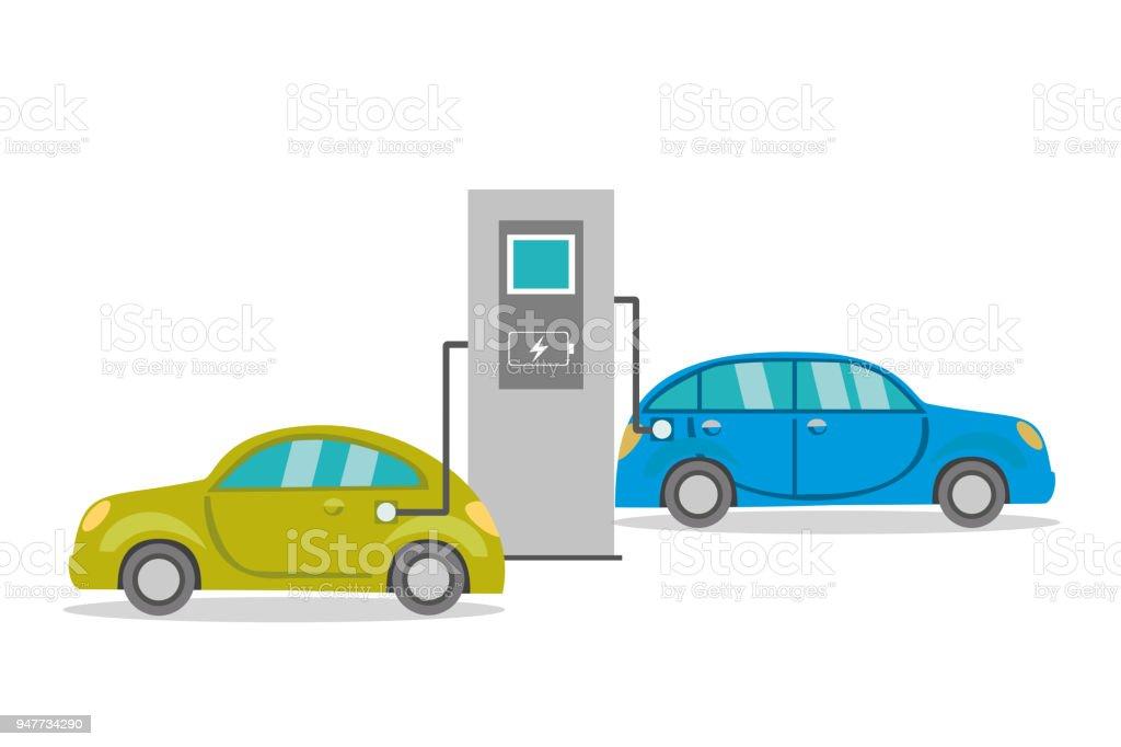 Cartoon electric cars on recharging, vector art illustration