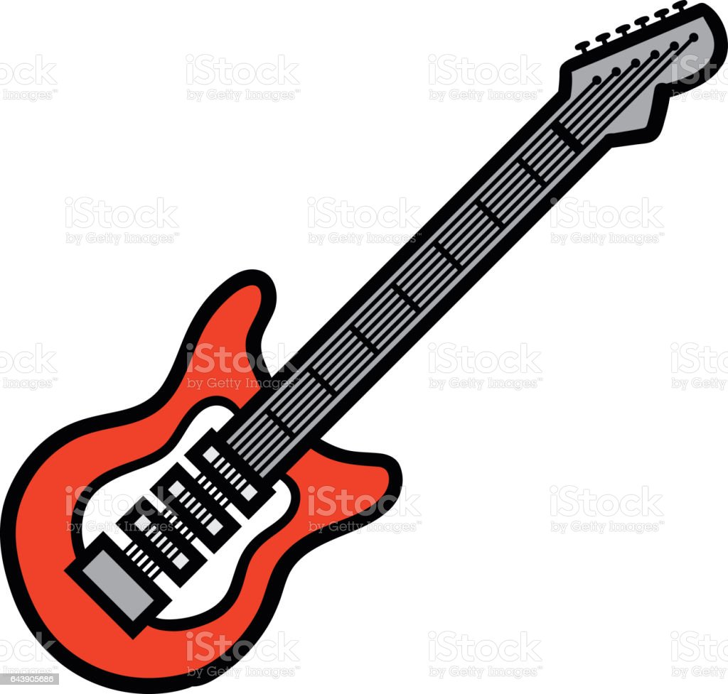 Cartoon Electric Guitar Vector Illustration Stock Vector Art & More ...