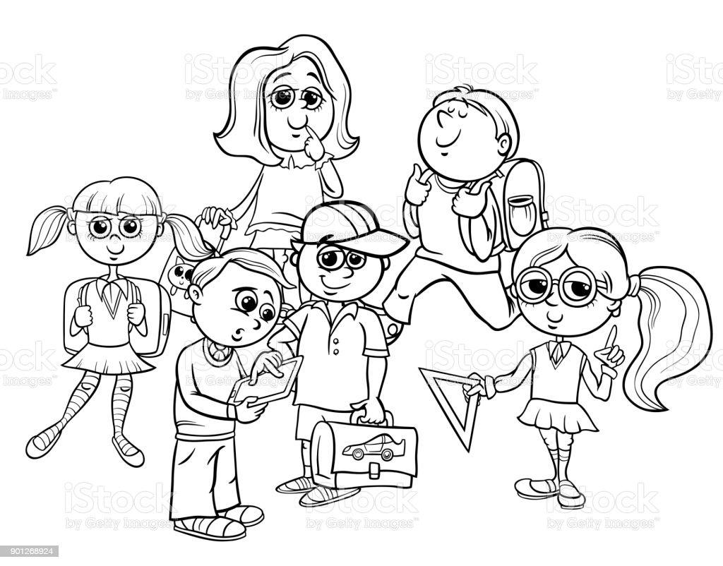 Ilustración De Los Niños De La Escuela Libro Para Colorear De